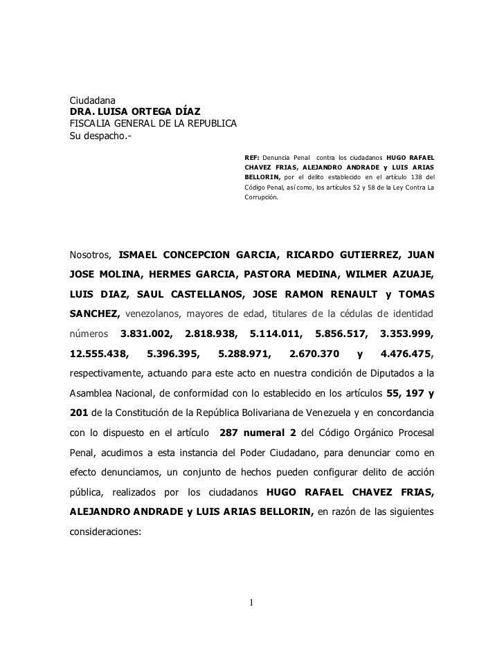 Ciudadana DRA. LUISA ORTEGA DÍAZ FISCALIA GENERAL DE LA REPUBLICA Su despacho.-                                         RE...