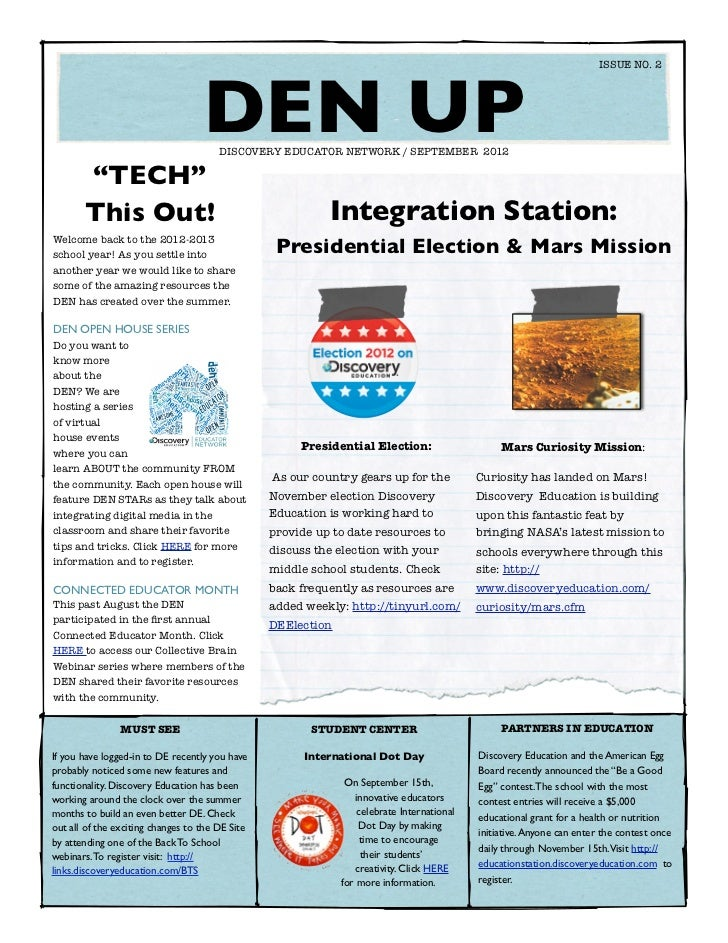 ISSUE NO. 2  	                                   DEN UP                                       DISCOVERY EDUCATOR NETWORK /...