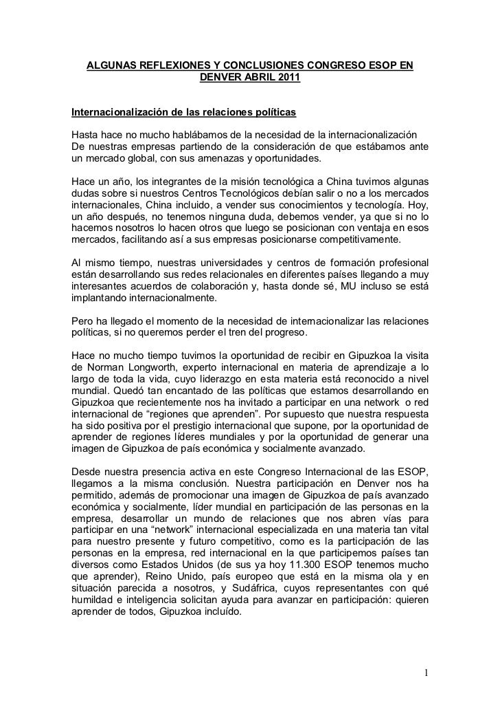 ALGUNAS REFLEXIONES Y CONCLUSIONES CONGRESO ESOP EN                    DENVER ABRIL 2011Internacionalización de las relaci...