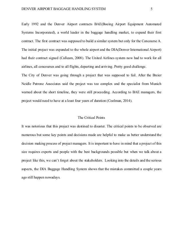 denver international airport baggage handling system Case study – denver international airport baggage handling system – an  illustration of ineffectual decision making accessed on september.