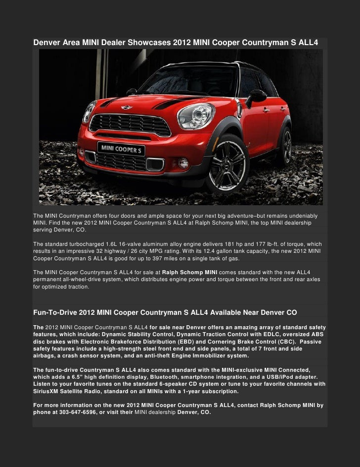 Denver Area Mini Dealer Showcases 2012 Mini Cooper Countryman