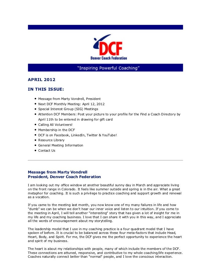 APRIL 2012IN THIS ISSUE:      Message from Marty Vondrell, President      Next DCF Monthly Meeting: April 12, 2012      Sp...