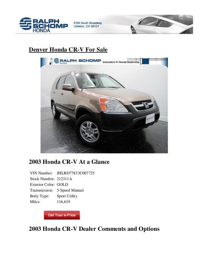 Ralph Schomp Honda >> Denver Honda Cr V