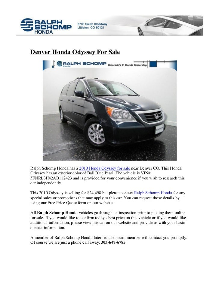 Superb Denver Honda Odyssey For SaleRalph Schomp Honda Has A 2010 Honda Odyssey  For Sale Near Denver ...