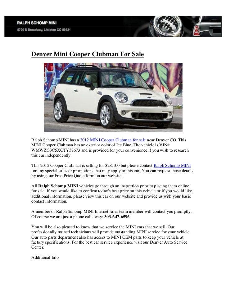 Mini Cooper Denver >> Denver Mini Cooper Clubman For Sale