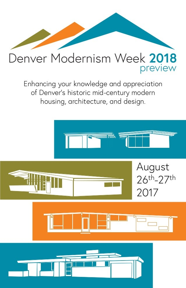 Enhancing your knowledge and appreciation of Denver's historic mid-century modern housing, architecture, and design. Augus...