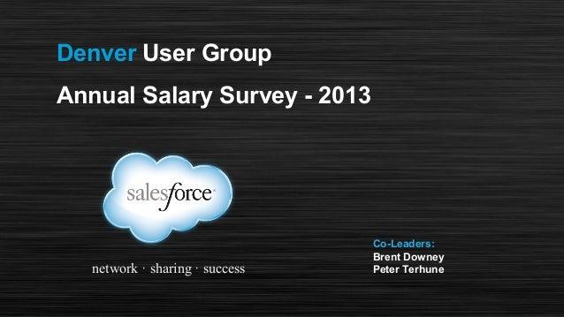 Denver User Group Annual Salary Survey - 2013  network · sharing · success  Co-Leaders: Brent Downey Peter Terhune