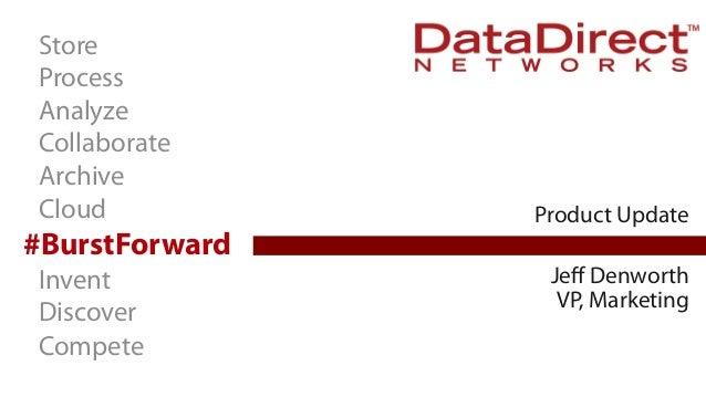 Store Process Analyze Collaborate Archive Cloud  Product Update  #BurstForward Jeff Denworth VP, Marketing  Invent Discover...