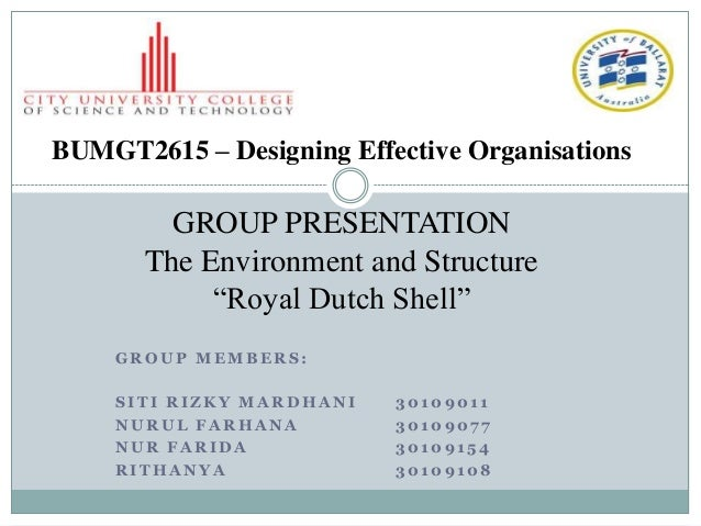 """BUMGT2615 – Designing Effective Organisations         GROUP PRESENTATION       The Environment and Structure            """"R..."""