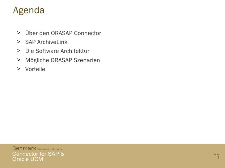 Benmark ORASAP SAP and ORACLE UCM connector - German Overview Slide 2
