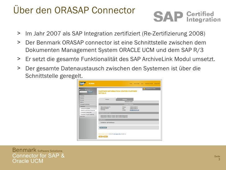 Benmark ORASAP SAP and ORACLE UCM connector - German Overview Slide 3