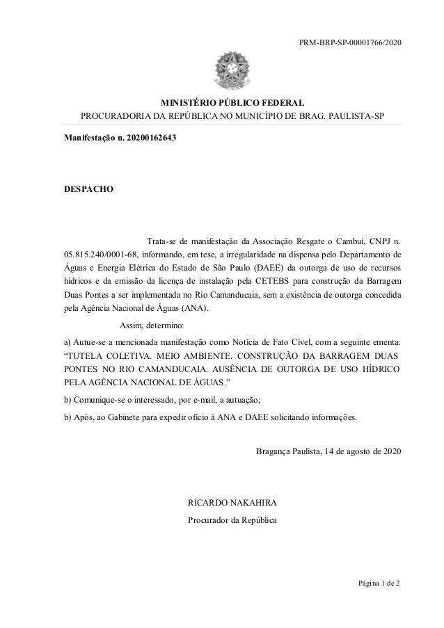 Manifestação n. 20200162643 DESPACHO Trata-se de manifestação da Associação Resgate o Cambuí, CNPJ n. 05.815.240/0001-68, ...