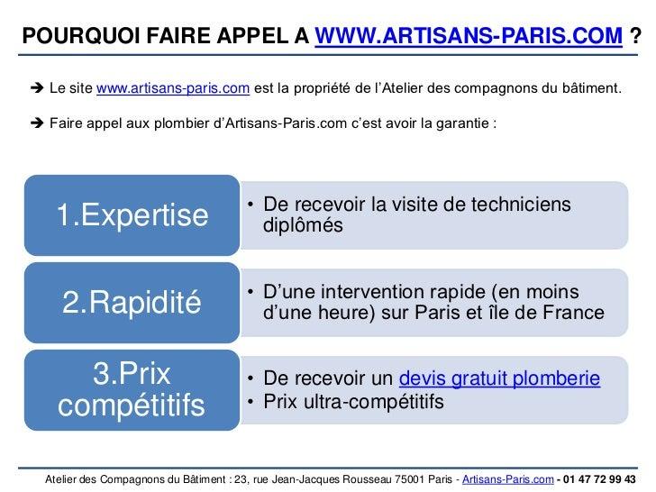 Depannage plomberie paris 2 75002 for Compagnons du batiment
