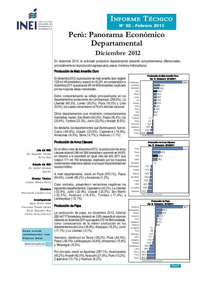 Perú: Panorama Económico Departamental Para mayor información ver Página Web: www.inei.gob.pe INFORMETÉCNICO N° 02  F...