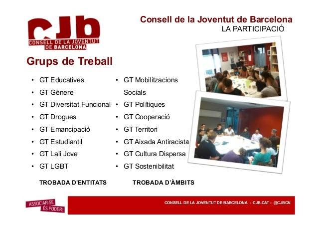 Consell de la Joventut de Barcelona PROJECTES INTERASSOCIATIUS CONSELL DE LA JOVENTUT DE BARCELONA - CJB.CAT - @CJBCN