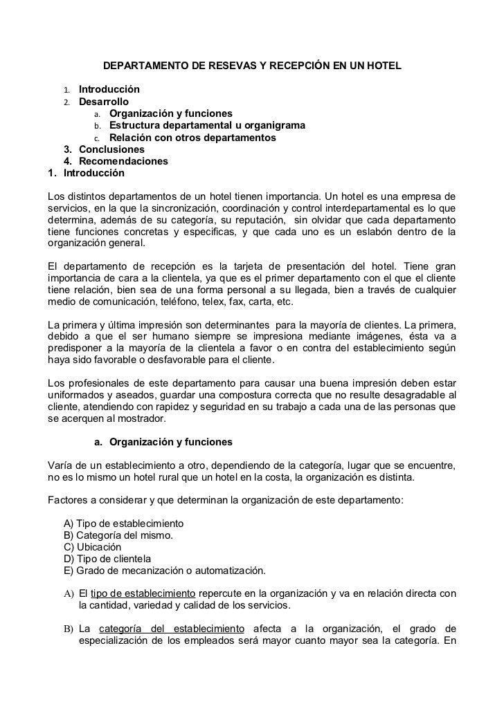 DEPARTAMENTO DE RESEVAS Y RECEPCIÓN EN UN HOTEL   1. Introducción   2. Desarrollo          a. Organización y funciones    ...