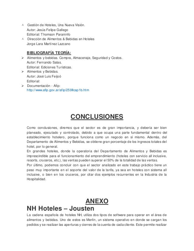 Departamento alimentos y bebidas for Manual de procedimientos de alimentos y bebidas de un hotel