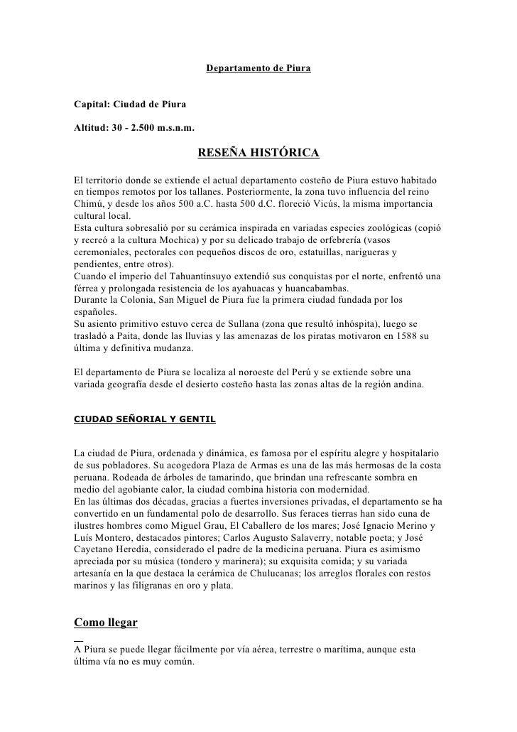 Departamento de Piura   Capital: Ciudad de Piura  Altitud: 30 - 2.500 m.s.n.m.                                 RESEÑA HIST...