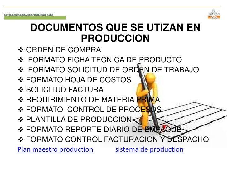 DOCUMENTOS QUE SE UTIZAN EN          PRODUCCION ORDEN DE COMPRA FORMATO FICHA TECNICA DE PRODUCTO FORMATO SOLICITUD DE ...