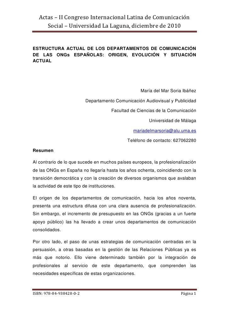 Actas – II Congreso Internacional Latina de Comunicación      Social – Universidad La Laguna, diciembre de 2010ESTRUCTURA ...