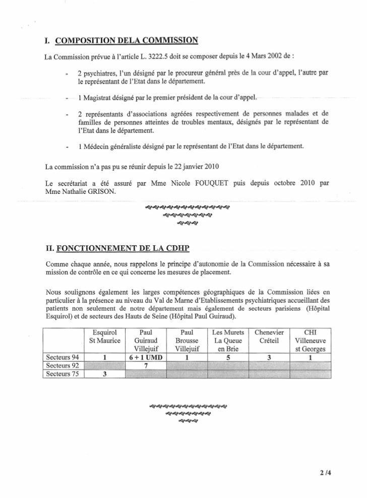 1. COMPOSITION DELA COMMISSIONLa Commission prévue à larticle L. 3222.5 doit se composer depuis le 4 Mars 2002 de:        ...