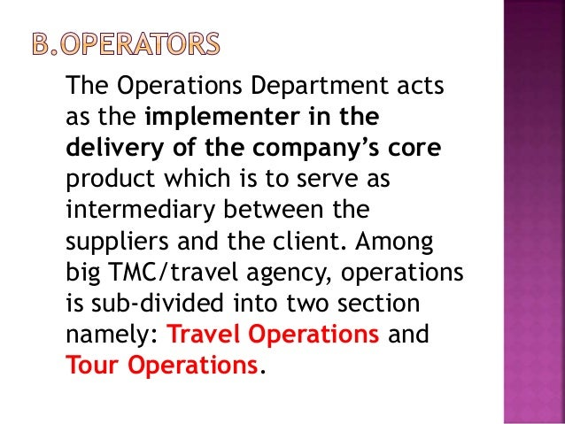 5 functions of a tour operator