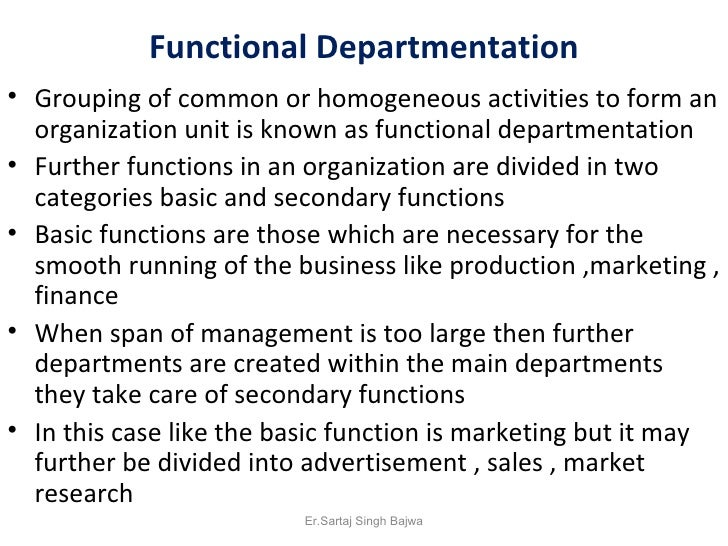 departmentation by enterprise function 2017-11-30 departmentation is a process resulting out of choice to  people perform same function or  the success of the enterprise can be understood on the.