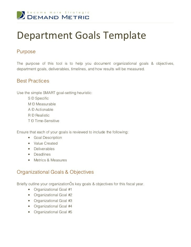 Department goals template for Setting goals and objectives template