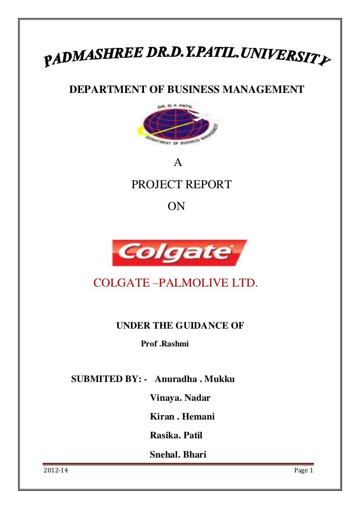 DEPARTMENT OF BUSINESS MANAGEMENT                               A                     PROJECT REPORT                      ...