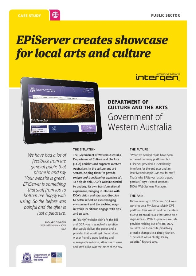 PUBLIC SECTOR  case study  EPiServer creates showcase for local arts and culture  Department of Culture and the Arts  Gove...