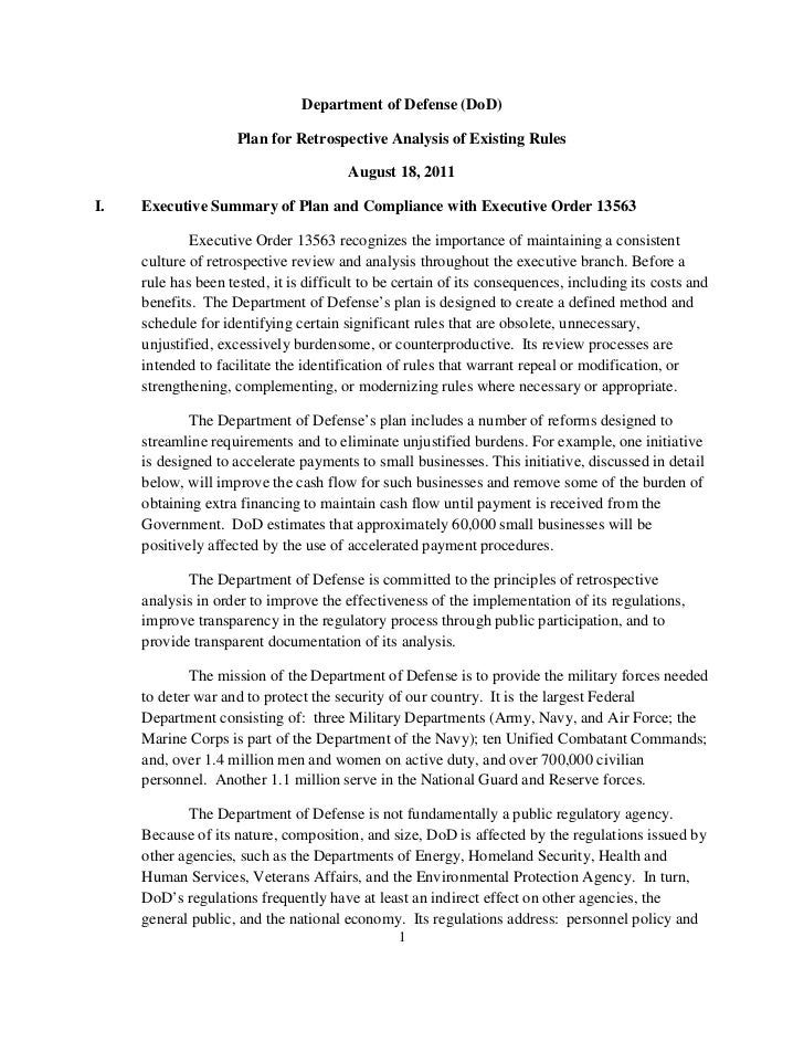 Department of Defense (DoD)                     Plan for Retrospective Analysis of Existing Rules                         ...