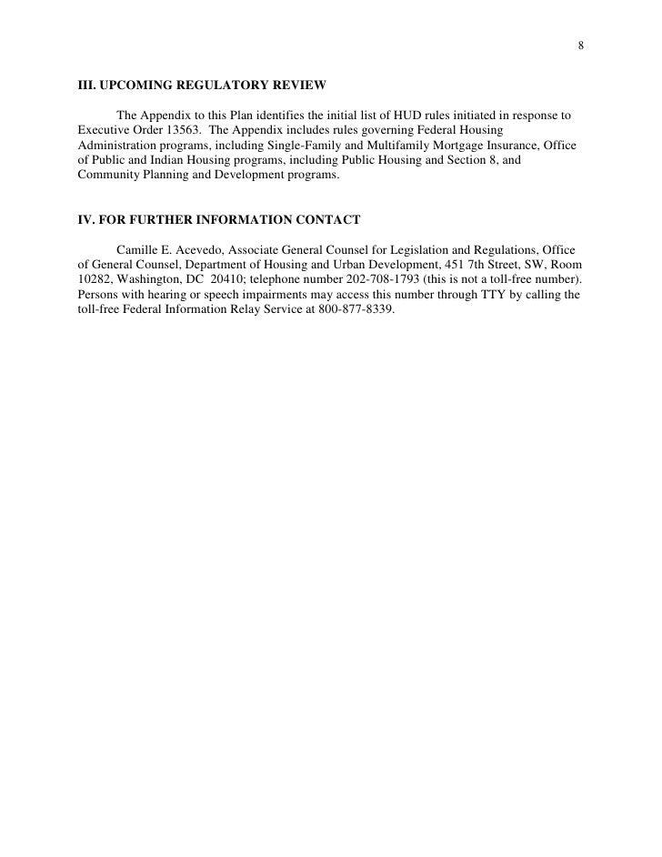 HUD Regulatory Reform Plan August 2011