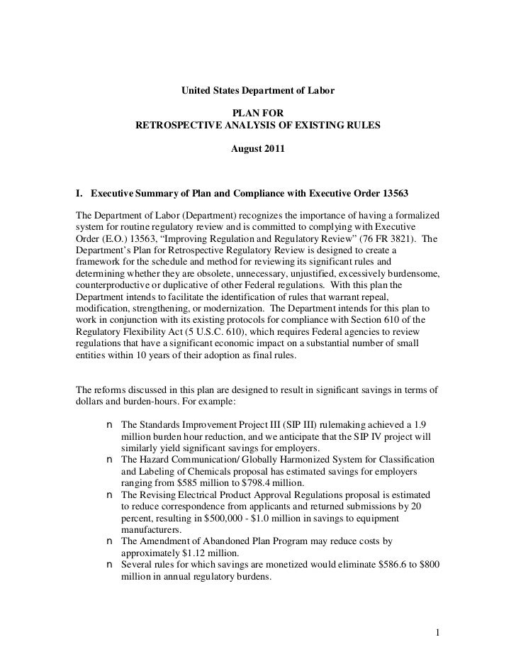 United States Department of Labor                              PLAN FOR               RETROSPECTIVE ANALYSIS OF EXISTING R...