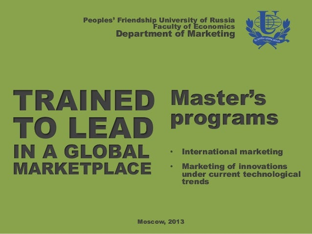 Peoples' Friendship University of Russia                       Faculty of Economics             Department of MarketingTRA...