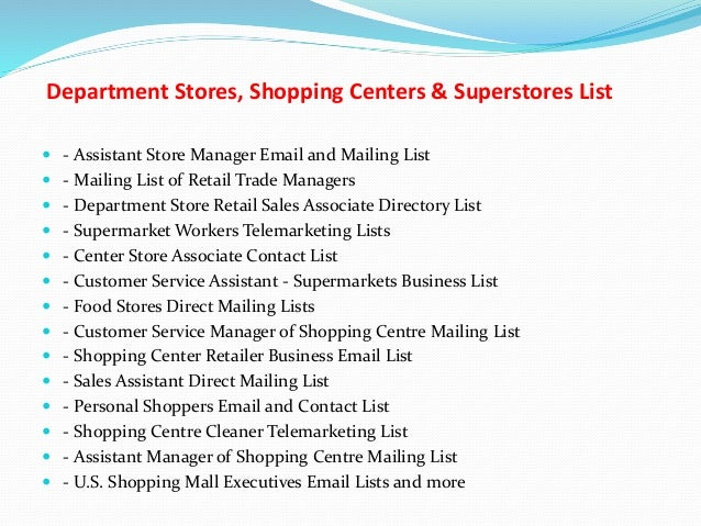 Department stores, shopping centers & superstores list
