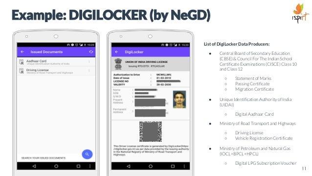 Example: DIGILOCKER (by NeGD) List of DigiLocker Data Producers: ● Central Board of Secondary Education (CBSE) & Council F...
