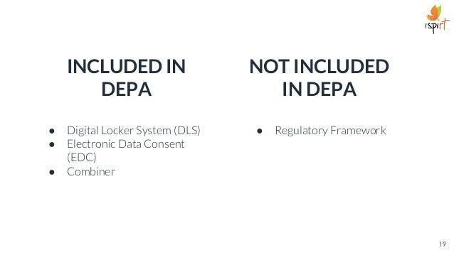 19 Combiner INCLUDED IN DEPA ● Digital Locker System (DLS) ● Electronic Data Consent (EDC) ● Combiner NOT INCLUDED IN DEPA...