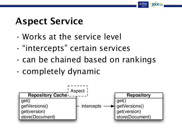 """Aspect Service  •Works at the service level  • """"intercepts"""" certain services  • can be chained based on rankings  • comple..."""