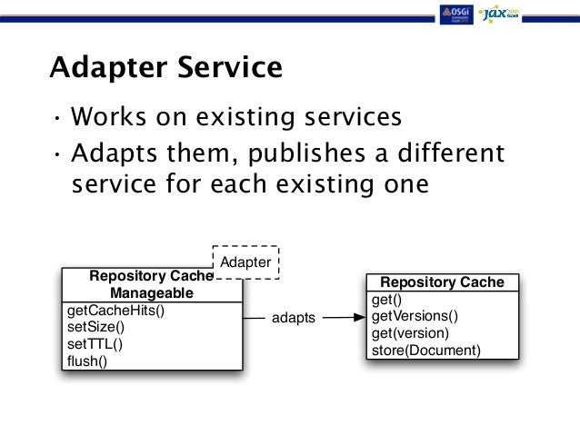 Adapter Service  •Works on existing services  • Adapts them, publishes a different  service for each existing one  Reposit...