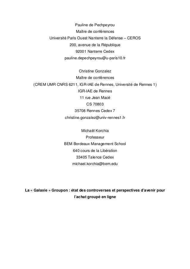 Pauline de Pechpeyrou                           Maître de conférences             Université Paris Ouest Nanterre la Défen...