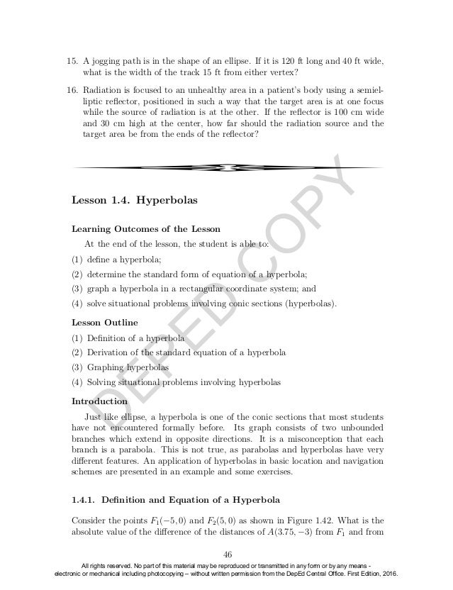 Pre calculus Grade 11 Learners Module Senior High School – Precalculus Review Worksheets