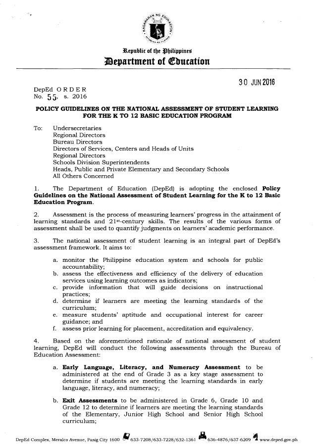 Dep Ed Order Do S2016 55 K 12 Assessment Policy