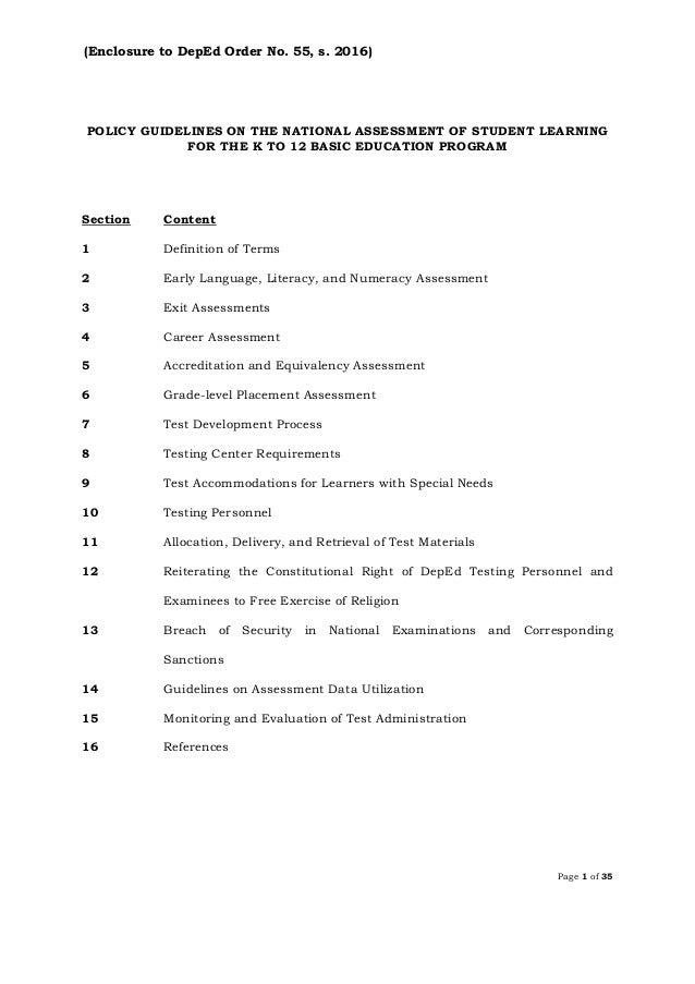 Dep ed order do-s2016_55 k-12 assessment policy