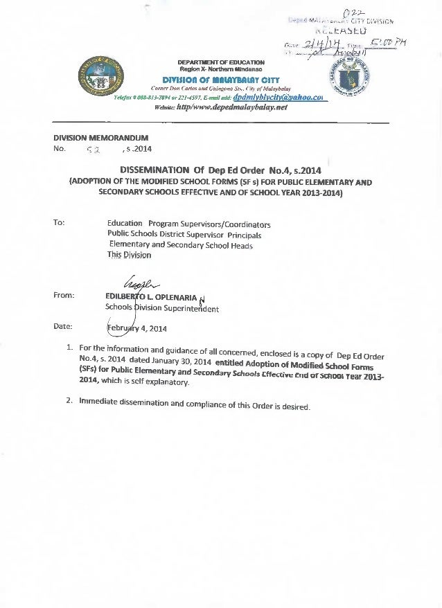 Deped order no 4,s2014 modified school forms