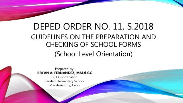 Deped Order No 11, s 2018