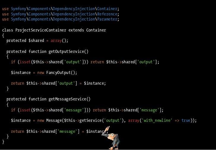 use SymfonyComponentsDependencyInjectionContainer; use SymfonyComponentsDependencyInjectionReference; use SymfonyComponent...