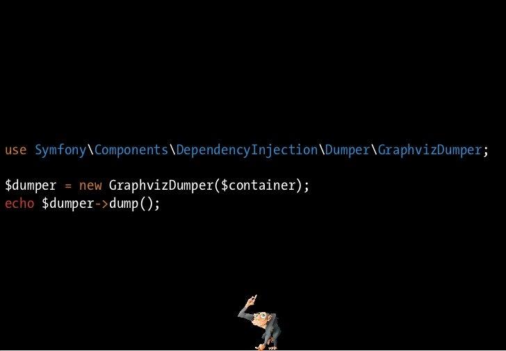 use SymfonyComponentsDependencyInjectionDumperGraphvizDumper;  $dumper = new GraphvizDumper($container); echo $dumper->dum...