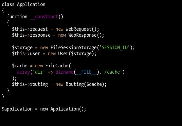 class Application {   function __construct()   {     $this->request = new WebRequest();     $this->response = new WebRespo...