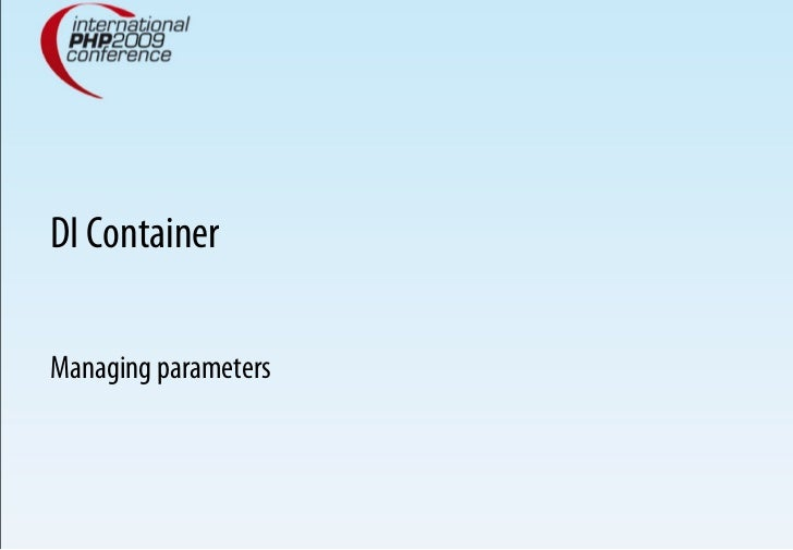 DI Container  Managing parameters