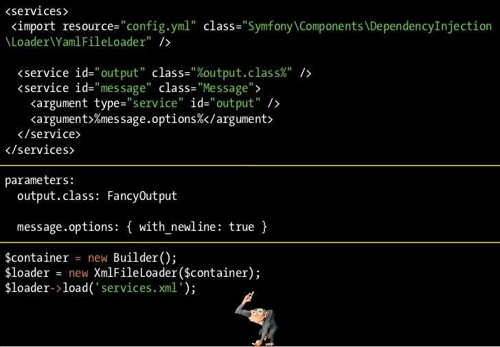 "<services>  <import resource=""config.yml"" class=""SymfonyComponentsDependencyInjection LoaderYamlFileLoader"" />    <service..."